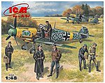Bf109F2 Fighter with Pilots and Ground Personnel -- Plastic Model Airplane Kit -- 1/48 -- #48803