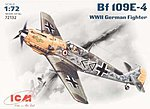 WWII Messerschmitt Bf109E4 Fighter -- Plastic Model Airplane Kit -- 1/72 Scale -- #72132
