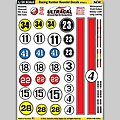 1/24 Peel & Stick Decals- Racing Number Roundel/Red Stripe Style 1 -- Slot Car Decal -- #64001
