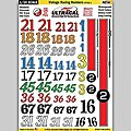 1/24 UltraCal Hi-Def Peel & Stick Decals- Vintage Racing Numbers Style 1 -- Slot Car Decal -- #64201