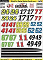 1/24 Peel & Stick Decals- Stock Car Racing Number Yellow/Black/Red/Green -- Slot Car Decal -- #64402