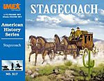 Stagecoach with Horses and Figures Set -- Western Plastic Model Kit -- 1/72 Scale -- #517