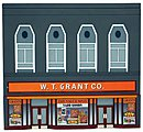 W.T. Grant Co. Assembled Perma-Scene -- HO Scale Model Railroad Building -- #6120