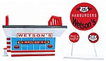 Wetsons Hamburgers Assembled Perma-Scene -- N Scale Model Railroad Building -- #6321