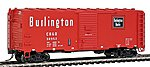 AAR 40' Modified Boxcar CB&Q -- HO Scale Model Train Freight Car -- #46821