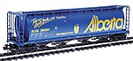 59' 4-Bay Cylindrical Covered Hopper Alberta ALNX -- N Scale Model Train Freight Car -- #65117
