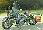 US Army WWII Motorcycle WLA-45 -- Plastic Model Motorcycle -- 1/9 Scale -- #07401