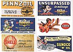 Vintage Gas Station/Oil Signs (6) 1940s -- Model Railroad Billboards -- HO Scale -- #164