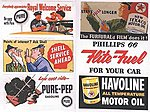 Vintage Gas Station/Oil Signs (6) 1950s -- Model Railroad Billboards -- HO Scale -- #165