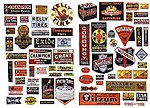 1940s to 1950s Oil & Tire Signs For Gas Stations -- Model Railroad Billboard -- HO Scale -- #373