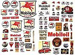 Vintage Mobil Gas Station Posters/Signs -- Model Railroad Billboard -- HO Scale -- #485
