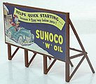 Custom Billboard 1940s Sunoco Gas -- Model Railroad Sign -- HO Scale -- #977