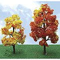 Sycamore Autumn Trees -- HO Scale Model Railroad Tree -- #92320