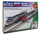 EMD SDP40F Starter Set - Standard DC -- Amtrak (Phase I), 4 Amfleet Cars, Unitrack Oval & Power Pack - N-Scale