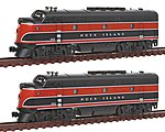 EMD F2 A-A Set w/Dual Headlight Rock Island -- N Scale Model Train Diesel Locomotive -- #1060203