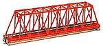 Single Truss Bridge - 248mm (9.75''), Red -- N Scale Model Railroad Bridge -- #20430