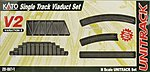 Unitrack V2 Single-Track Viaduct Track Set -- N Scale Nickel Silver Model Train Track -- #208611