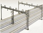 Four Track Catenary Poles Straight (10) -- N Scale Model Railroad Trackside Accessory -- #23064