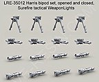 1/35 Harris Bipod Set (4 opened/4 folded) & Surefire Tactical Weapon Lights (8)