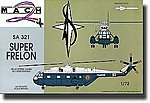 SA321 Super Frelon Helicopter with Missiles -- Plastic Model Helicopter Kit -- 1/72 Scale -- #18
