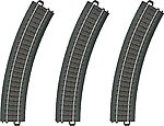 3-Rail C Track Curved Sections pkg(3) -- HO Scale Nickel Silver Model Train Track -- #20130