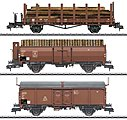 Loading Wood 3-Car Set German Federal RR -- HO Scale Model Train Freight Car -- #58229