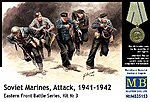 WWII Soviet Marines Attack (5) -- Plastic Model Military Figure -- 1/35 Scale -- #35153