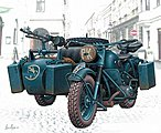 WWII German Motorcycle with photo-etched parts -- Plastic Model Motorcycle Kit -- 1/35 -- #3528f