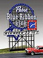 Pabst Blue Ribbon Animated Neon Small Billboard -- HO Scale Model Railroad Sign -- #4082