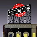 Chicago & North Western Small Animated Neon Billboard -- HO Scale Model Railroad Sign -- #440202