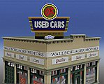 OK Used Cars Animated Neon Billboard -- HO Scale Model Railroad Sign -- #5481