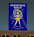 Morton Salt Small Animated Neon Billboard w/Support Kit -- HO Scale Model Railroad Sign -- #6062