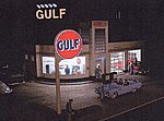 Gulf Gas Station Lighting Kit -- N Scale Model Railroad Building Lighting -- #609310