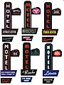 HOTEL/MOTEL Large Left Mount Kit -- HO Scale Model Railroad Sign -- #68811-l
