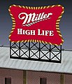 Miller Beer Animated Neon Small Billboard Kit -- HO Scale Model Railroad Billboard -- #8062
