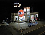 Gulf Gas Station Kit -- HO Scale Model Railroad Building -- #879310
