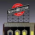 Chicago & North Western Animated Neon Billboard -- HO Scale Model Railroad Sign -- #880201