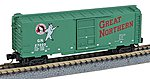 40' Boxcar Runner Pack Great Northern (4) -- Z Scale Model Train Freight Car Set -- #99400068