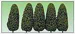 Medium Green Spring 8'' Trees (5) -- O Scale Model Railroad Tree -- #1435