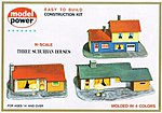 Three Suburban Houses Kit -- N Scale Model Railroad Building -- #1502