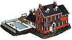 Two-Story Mansion with Pool Kit -- N Scale Model Railroad Building -- #1514