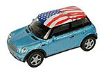 Mini Cooper Blue/American Flag Roof -- HO Scale Model Railroad Vehicle -- #19133
