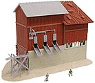 Station & Gravel Depot Lighted Built-Up -- N Scale Model Railroad Building -- #2568