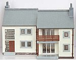 Garden Apartment Lighted with 2 Figures Built-Up -- N Scale Model Railroad Building -- #2612