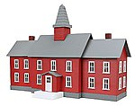 Little Red School House Built-Up -- HO Scale Model Railroad Building -- #783