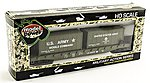 51' Flat Car w/ 2 20' Containers US Army -- HO Scale Model Railroad Freight Car -- #98309