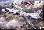 Antonov An32 Soviet Transport Aircraft -- Plastic Model Airplane Kit -- 1/72 Scale -- #7296