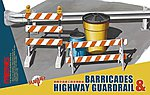 Barricades & Highway Guardrail Set -- Plastic Model Diorama Accessory -- 1/35 Scale -- #sps13