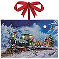 SANTA'S EXPRESS 4X6 Canvas Illuminated Print -- Model Railroad Puzzle Print Sign -- #10717