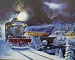 Christmas Express Illuminart Canvas Print 16 x 20'' -- Model Railroad Puzzle, Print, Sign -- #10804